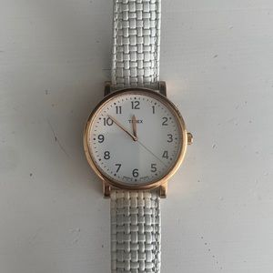Timex White Leather Watch